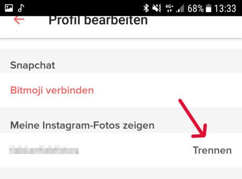 Instagram von tinder trennen app tinder