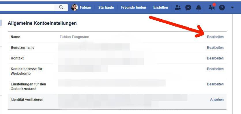 facebook desktop name ändern