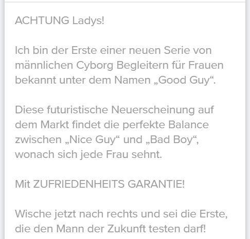 dating profiltext mann