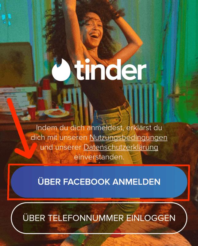 Tinder mit Facebook Account anmelden