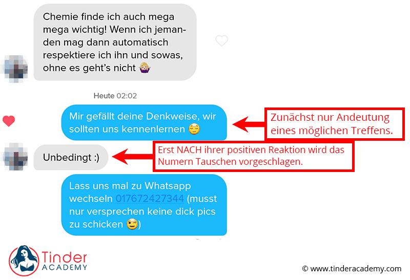 Beispiel Tinder Gesprächsanalyse Nummer bekommen durch Andeutung