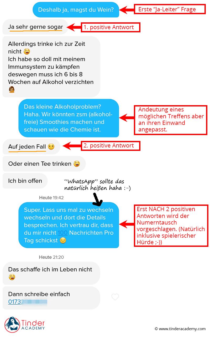 Beispiel Tinder Chatverlauf Nummer bekommen mit Ja-Leiter und Andeutungen