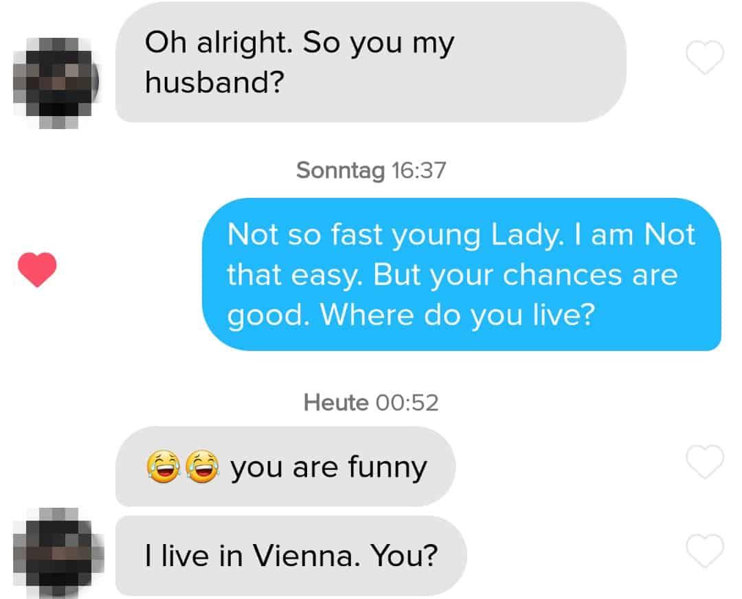 Beispiel für Tinder Chat Trick Frame-Reversal
