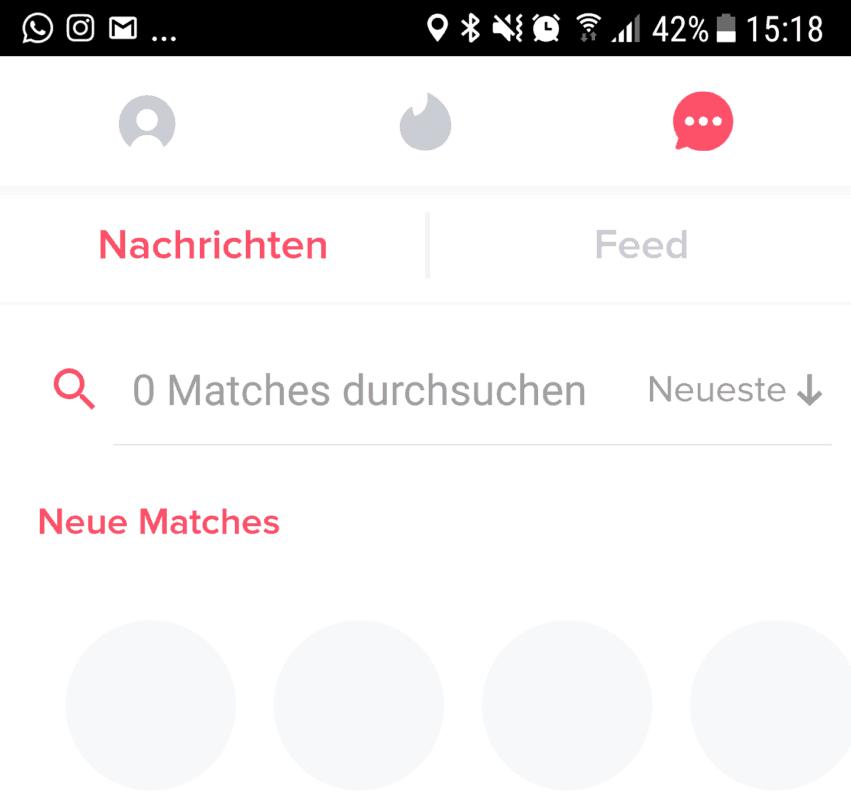 So sieht Tinder ohne Matches aus