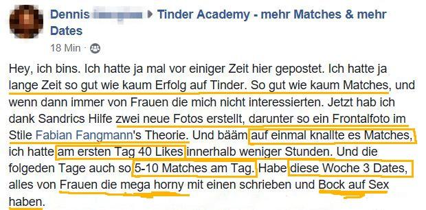 Testimonial aus der TinderAcademy wie man mehr Matches und mehr Likes bekommt