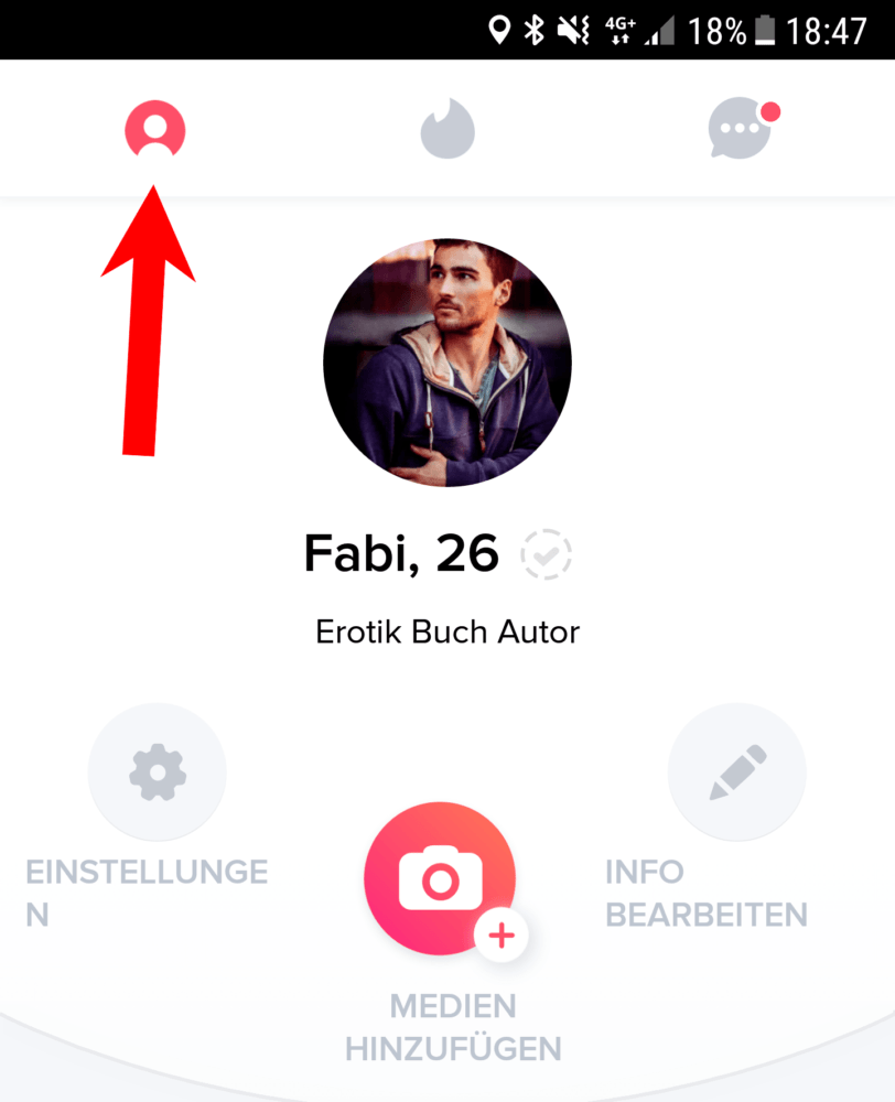 tinder verifizierung indem du dein profil öffnest