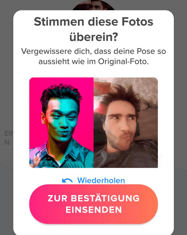 Nimm ein Selfie auf um dein Profil zu verifizieren