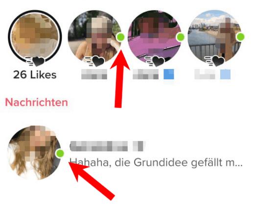 die grünen punkte zeigen an, wan jemand zuletzt online war auf tinder