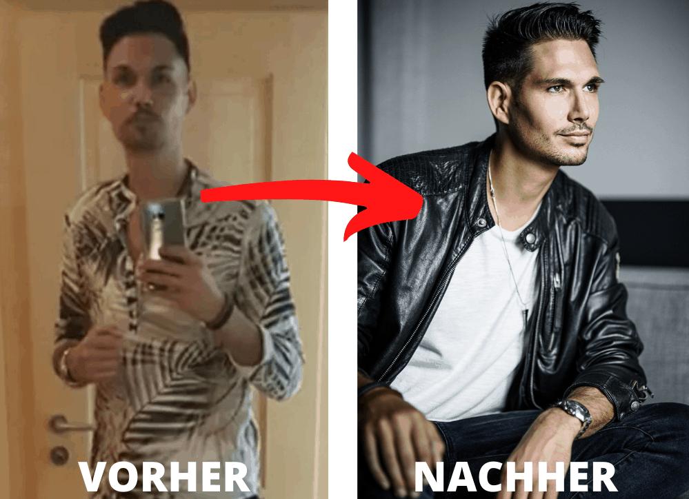 Vorher nachher Vergleich von Tinder Fotoshooting für ein Online Dating Profil